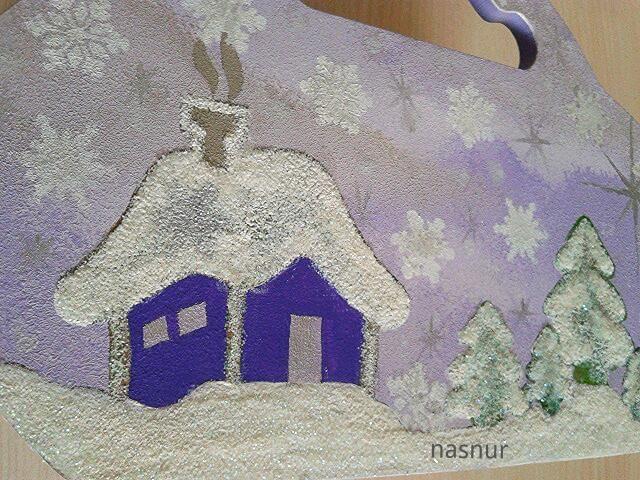 ahşap boyama kutu  kar efekt hand paint box winter snow handmade
