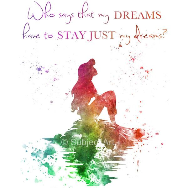 Ariel, The Little Mermaid Quote ART PRINT illustration, Disney,... ($13) ❤ liked on Polyvore featuring text, phrase, quotes and saying