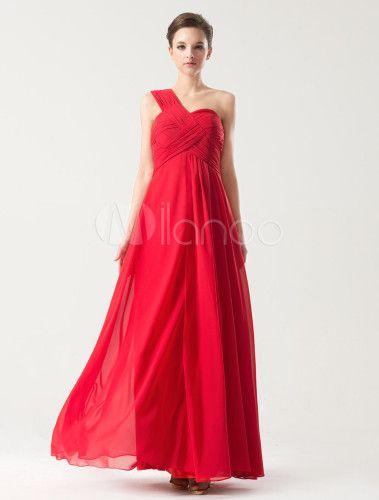Vestido de fiesta de chifón rojo de estilo moderno - Milanoo.com