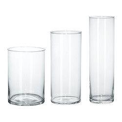 IKEA - CYLINDER, Vase, lot de 3,  , , Peuvent être empilé l'un dans l'autre pour gagner de la place.