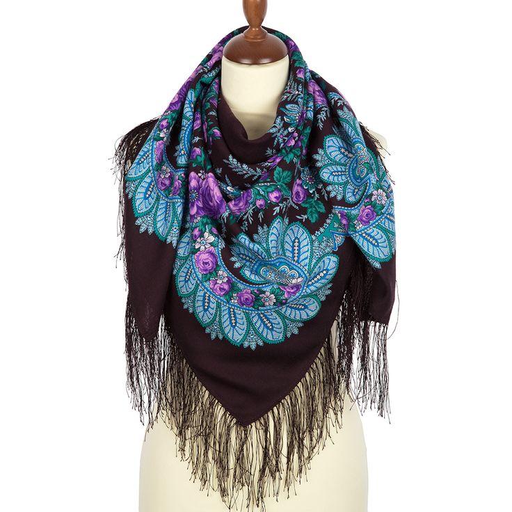 #Russian #shawl #Pavlovo #Posad shawl Flower fan 1699-15. Traditional Russian wool shawl, Pavlovo Posad shawl. Free Shipping. Best price guarantee.