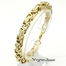 Promotie! heren Armbanden Gouden Ketting Link Armband Rvs 8mm Breedte Byzantijnse Groothandel Hoge Kwaliteit BB247(China (Mainland))