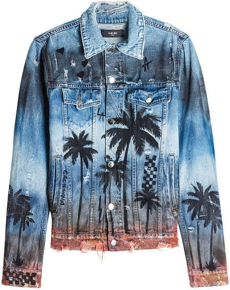 f7d6bcdc9294 Amiri Distressed Denim Jacket with Palm Print