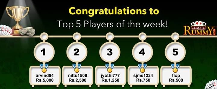 Congratulations to the Top 5 Players of Week!!!  Every week Top 5 players will win a share of Rs 10,000 ‪#‎CASHBACK‬.  For more details about the offer check the link below>> https://www.classicrummy.com/online-rummy-promotions/rummy-cash-back-offer?link_name=CR_12