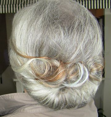 "grey with a touch of copper - love this style for an ""updo"".  Would look great with one of my antique combs"
