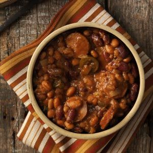 Chuck Wagon Beans. I think I will adjust the amount of jalapeno slices (maybe 2 oz vs the 12 oz listed) for personal taste, and maybe cut the steak seasoning in half. Otherwise, it sounds good!