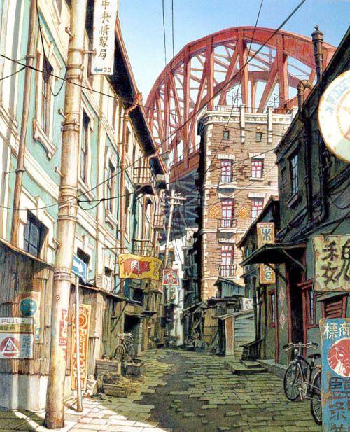 "Oriental Tekkon streets. Tekkon Kinkreet anime based on the manga series ""Black and White"" by Taiyō Matsumoto."