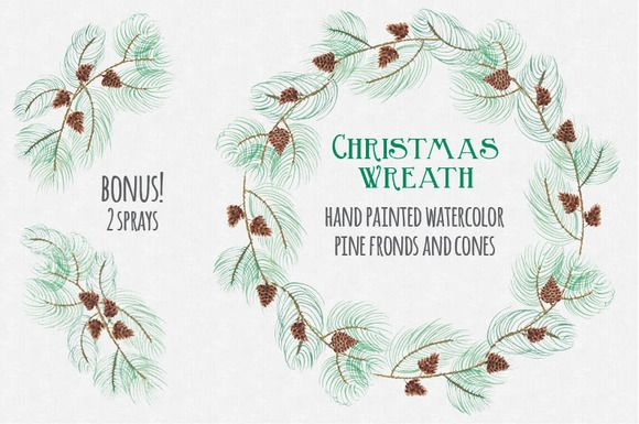 Christmas watercolor wreath: Pine by Lolly's Lane Shoppe on Creative Market