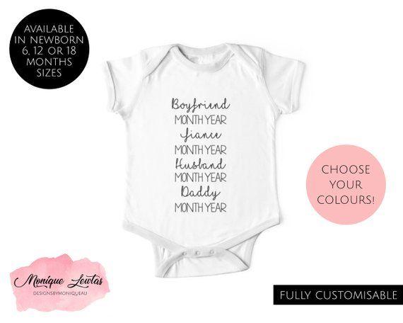 1cac3b3d Personalised Boyfriend, Fiancé, Husband, Daddy Baby Onesie, Newborn, Girl,  Boy, Unisex, Father's Day, Gift For Him, Pregnancy Announcement
