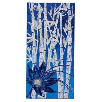 """Quadri floreali """"Bambù e fiore blu in verticale"""" Versione in piccolo del tema dei bambù con fiori. Il quadro moderno verticale, monocromatico in tonalità di blu e bianco, è facilmente adattabile in piccoli ambienti da risaltare."""