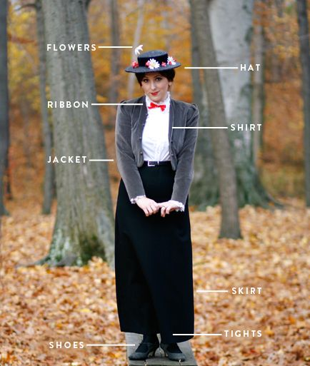 Create Your Own Mary Poppins Costume. I'll have to remember this for the fall show.