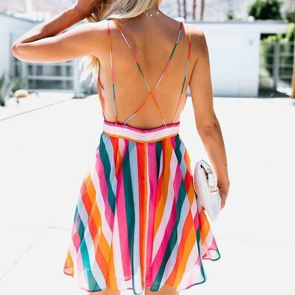 UK New Womens Rainbow Stripe Spaghetti Strap Summer Holiday Ladies Top Bodysuit
