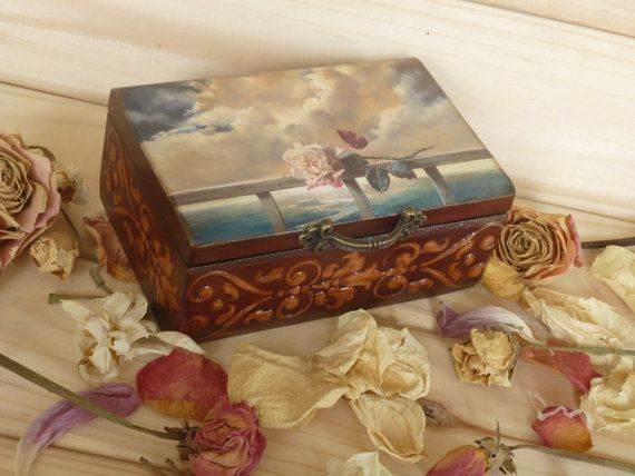 Wooden Box Rose Small jewelry box card holder wedding ring box decoupage box Cottage Chic Wedding Box vintage