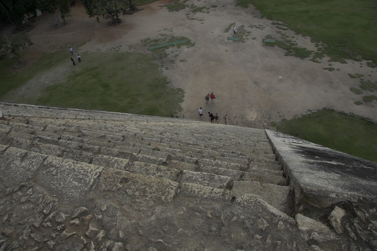 Looking down from atop the Kukulkan Pyramid