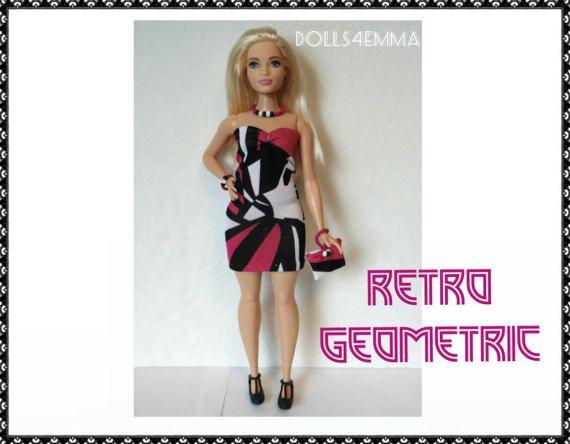 BOCHTIGE BARBIE Doll kleding - Retro geometrische Sexy jurk, Hand-gerolde portemonnee en sieraden Set - handgemaakte mode door dolls4emma