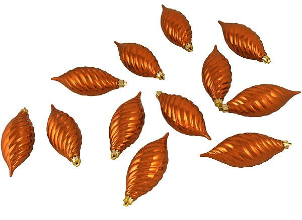 "Club Pack of 12 Burnt Orange Shatterproof Finial Christmas Ornaments 4.75"""