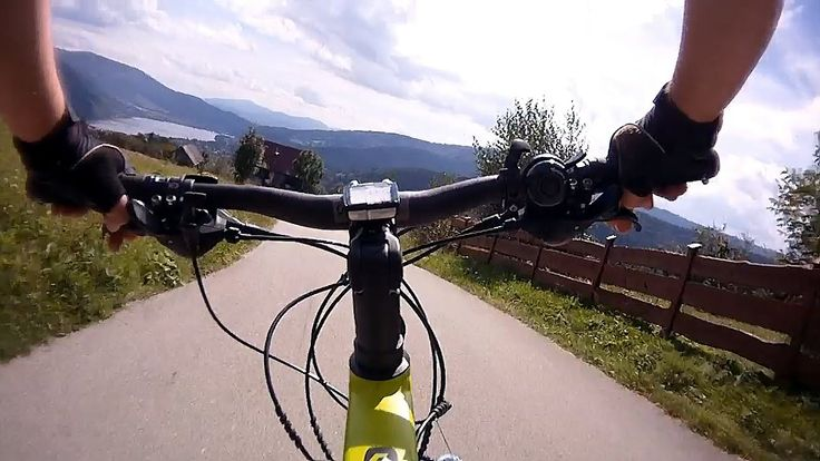 My back on the bike from the top of  Hrobacza Łąka in Small Beskid Mountains in the direction of the village Żarnówka.