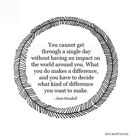 jane goodall quote about making a difference in the world around you - Jobs That Make A Difference In The World