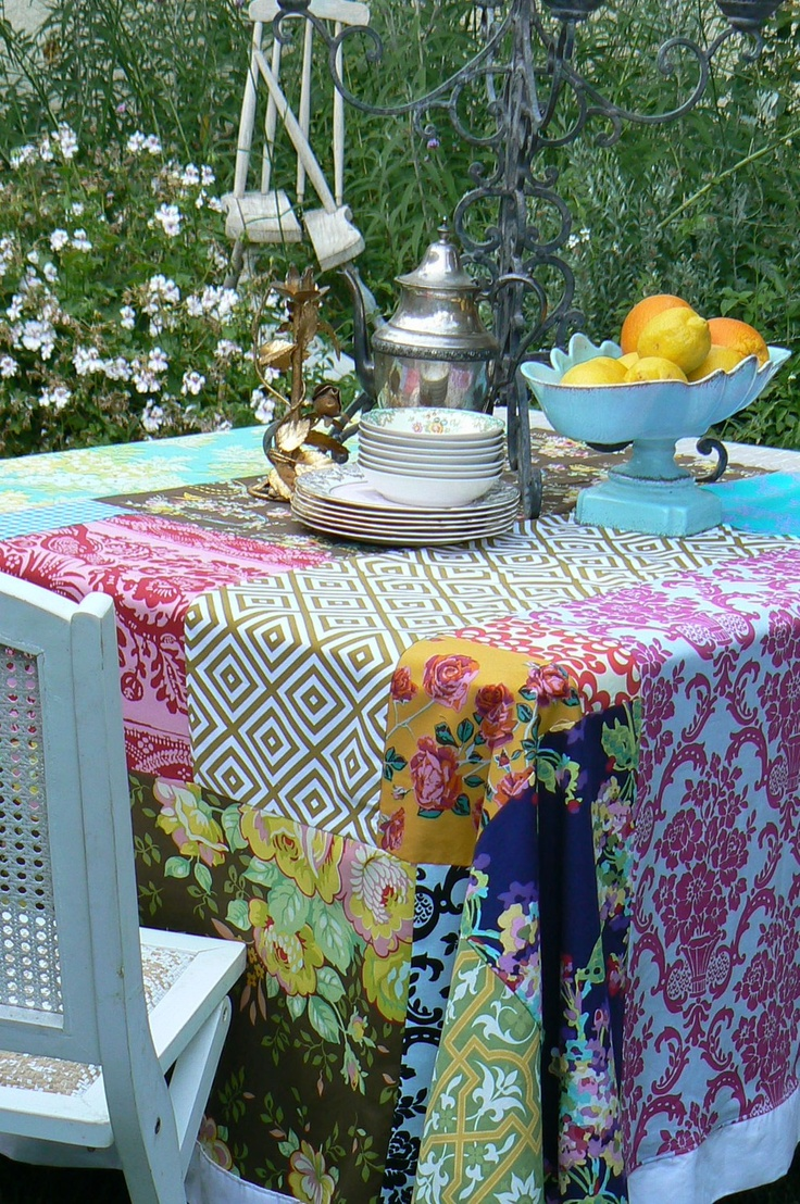 Custom made patchwork tablecloth.