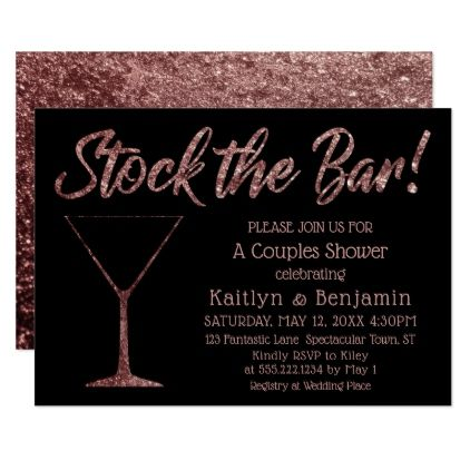 Sparkling Rose Gold Stock the Bar Couples Shower Card - invitations personalize custom special event invitation idea style party card cards