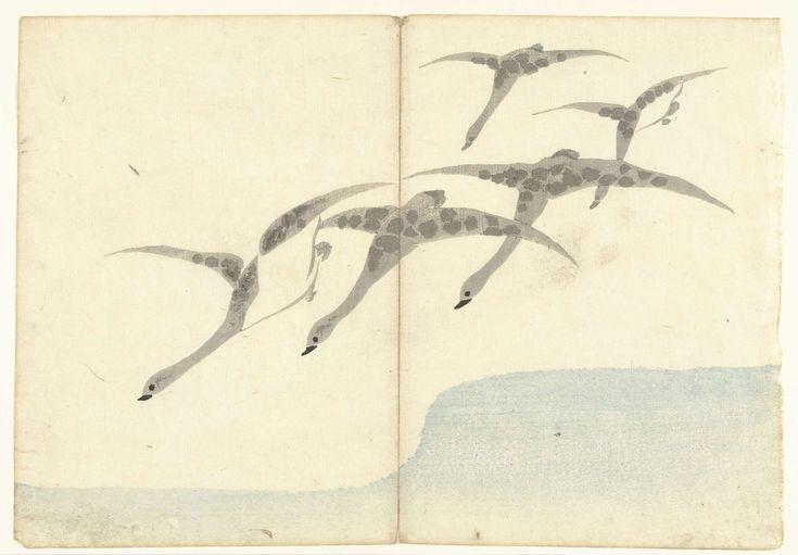 Nakamura Hôchû | Vijf vliegende ganzen, Nakamura Hôchû, Izumiya Shojiro, 1826 |