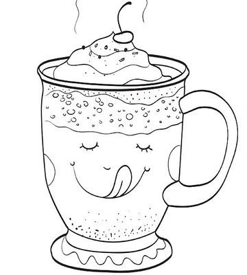 how to draw hot chocolate in a cup