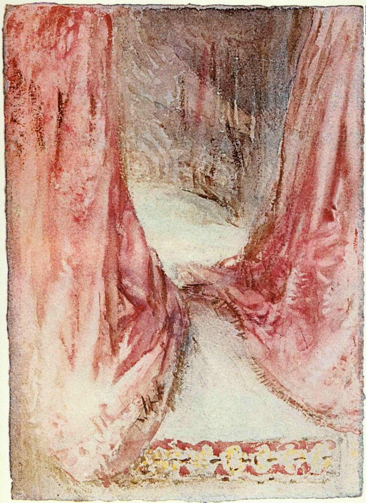 A Bed: Drapery Study c.1827. JMW Turner. Watercolor. here Turner attempts a difficult interior study of pink hanging silk curtains which show remarkable texture in watercolor that leaves the viewer with the sensation of touch. Image from a bedroom at Petworh House where he visited Lord Egremont in August 1827 to paint some rural scenes for his patron. During this visit Turner also took several sketches of the interior of the grand house. British Museum.