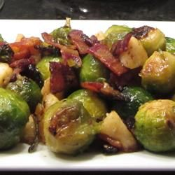 "Roasted Apples and Brussels Sprouts | ""My wife and I can go through an entire tray of these by ourselves. Yummo!"""