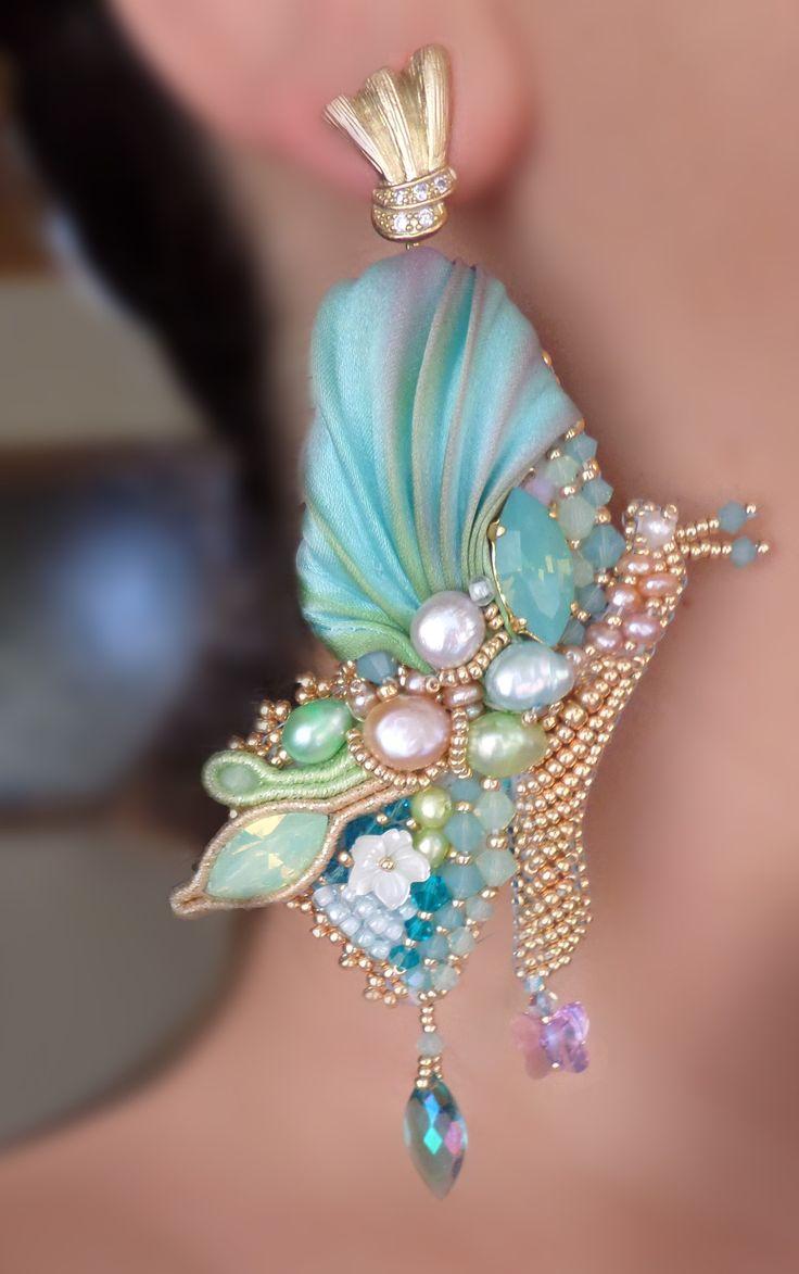 BUTTERFLY EARRINGS Design by Serena Di Mercione --- beadembroidery, shibori silk, swarovski, pearls