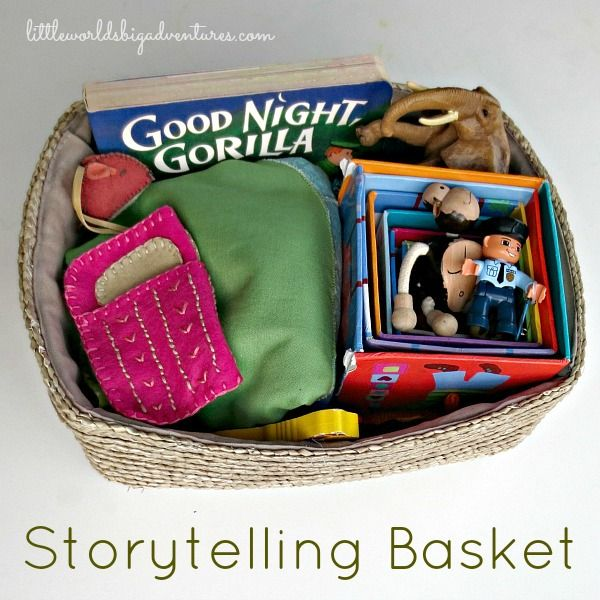 Story Basket could go in a center or could be used in a maker space where kids create their own characters and props.