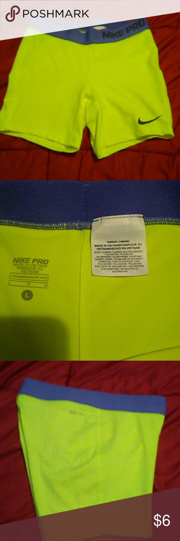 NWOT/Nike pro Shorts Girls L / Darling Neon yellow dry-fit shorts. 92% polyester 8% spandex. Inventory # 10101 Nike Bottoms Shorts