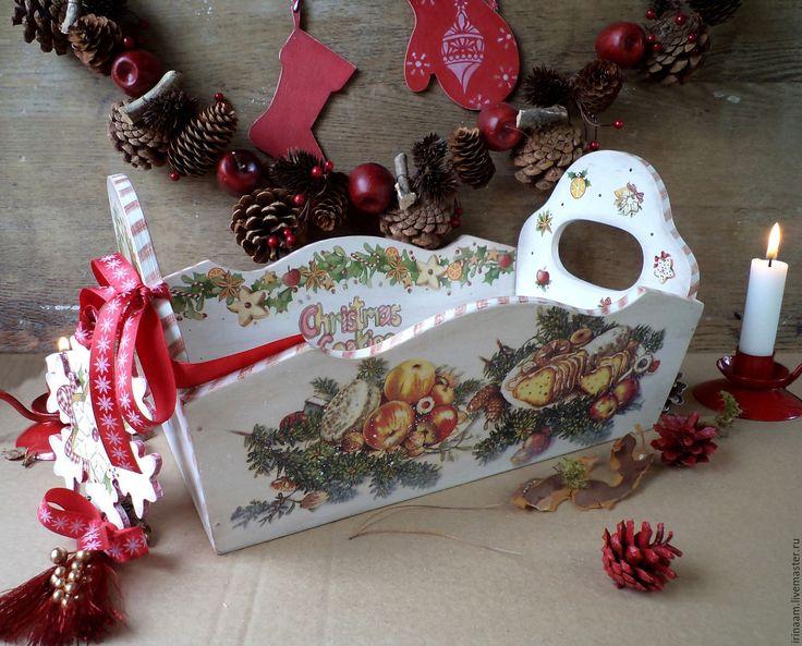 """Купить """"Рождественское угощение"""" праздничный короб - белый, красный, зелёный, короб, короб для хранения"""