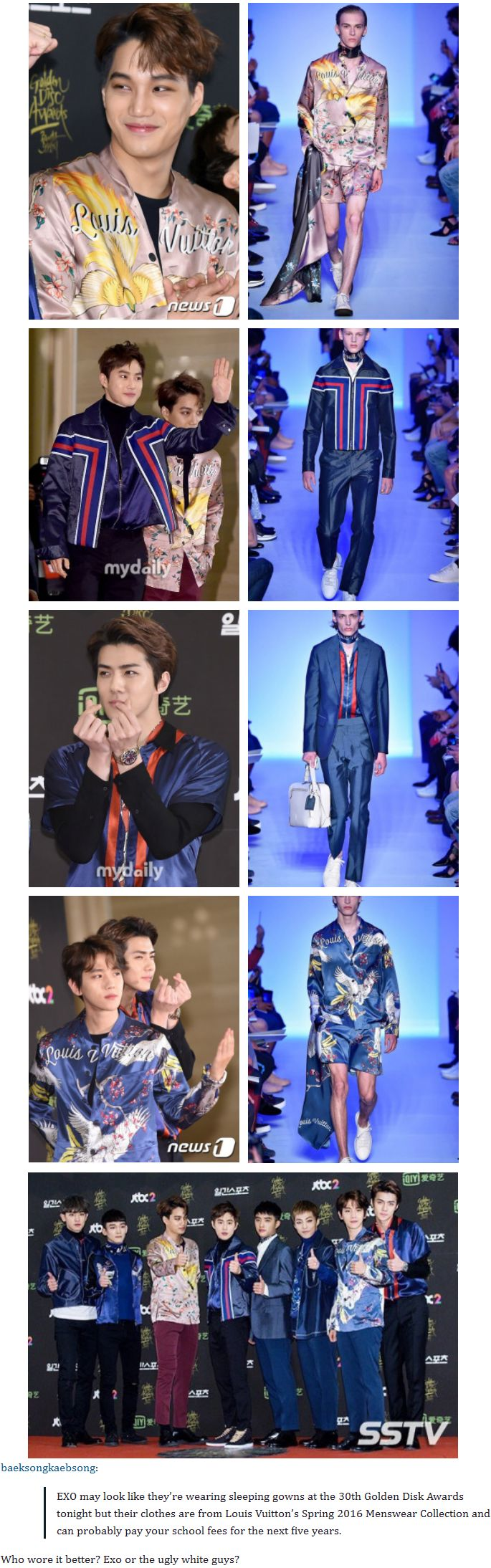 EXO rocks them!!! They wear it so much better!!