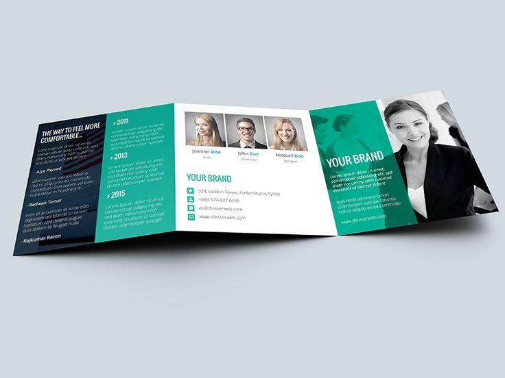 Modern Agency Square Tri Fold Brochure View Live Trifold - gate fold brochure mockup