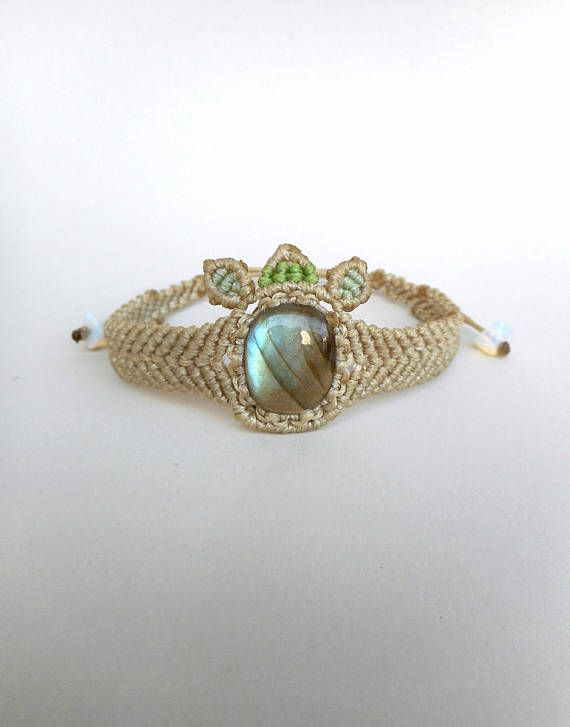Labradorite bracelet Gemstone cabochon Moonstone cuff Beige