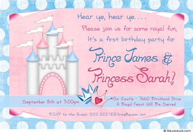 Boy Girl Twin Birthday Theme | Castle Twins Birthday Invitation - Party Blue & Pink Boy, Girl