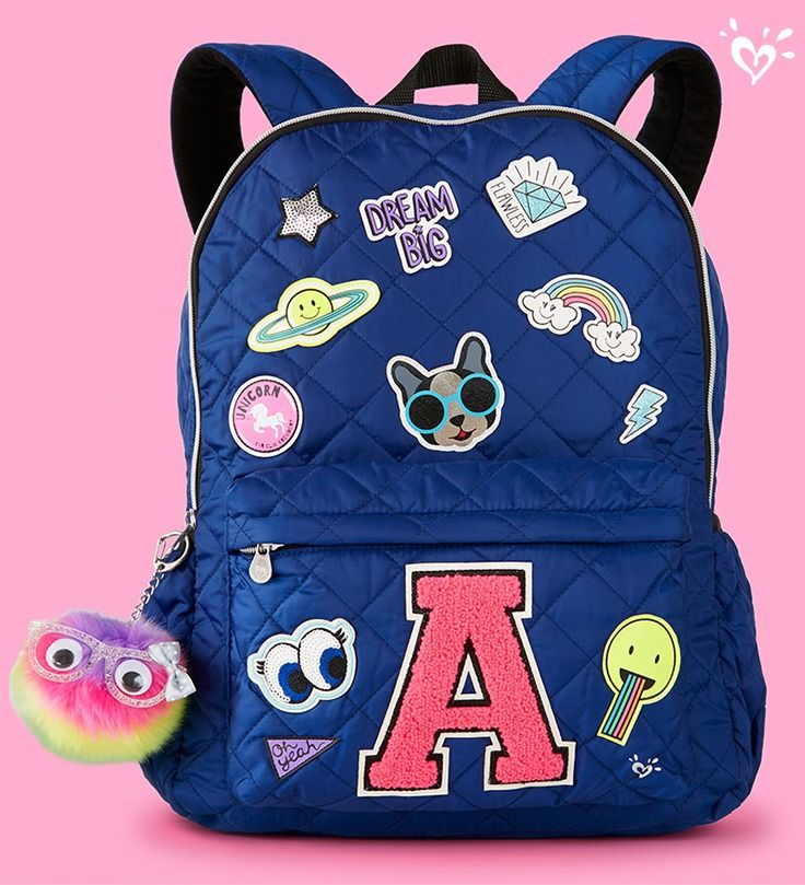 Fave initial backpacks are available in letters A-Z at shopjustice.com.