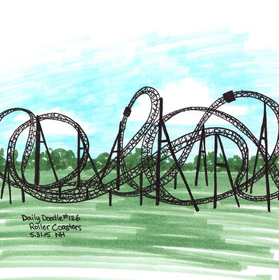 A really simple, quick drawing of a crazy roller coaster. This drawing is part of my daily doodle project. I'm attempting to do 365 days of doodles. The project is interactive and the subjects are pro