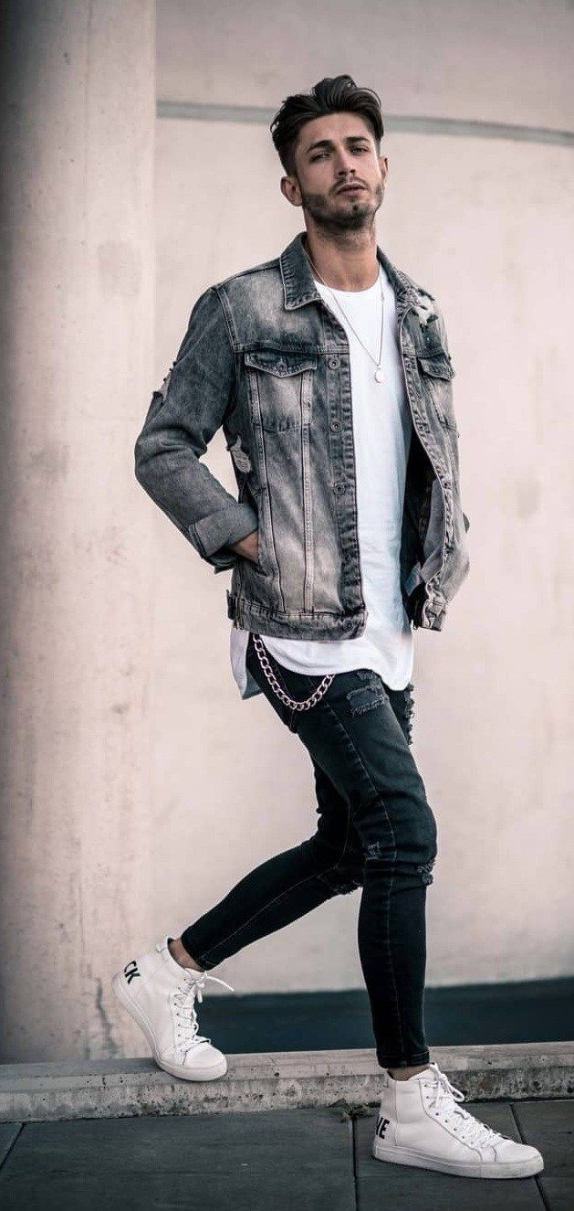 14 Ways To Style Your Favorite Denim Jacket In 2020 Grey Denim Jacket Denim Jacket Outfit Denim Jacket Men Outfit [ 1325 x 629 Pixel ]