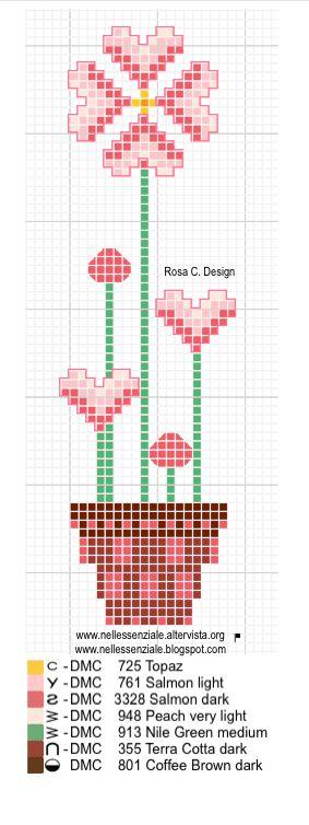 """Collezione punto croce """"I fiori di Rosa"""" vaso di cuori"""