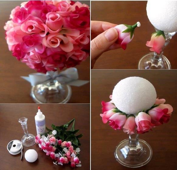 Arranjo simples, uma bola de isopor, botões de rosas artificiais, cola branca e um vaso ou pedestal. ;)