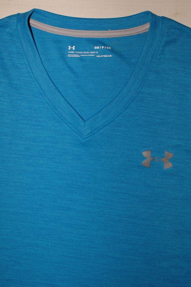 b46e5ded50 UNDER ARMOUR UA Tech V-Neck Mens Short Sleeve Shirt Blue Heathered ...