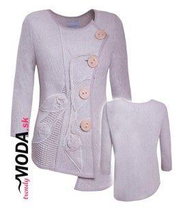 Originálne dámske pletené sako s ručne šitou aplikáciou.-trendymoda.sk