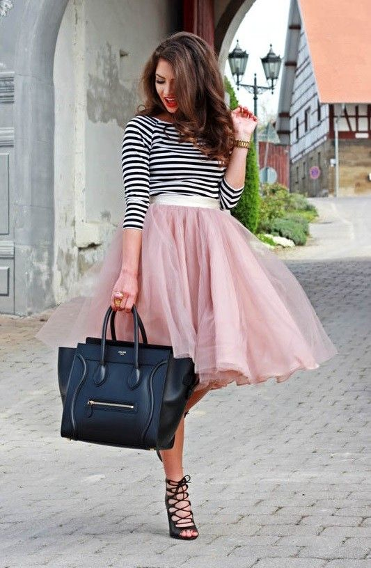 black and white stripes shirt, pink flowy tull and chiffon skirt, heels and over-sized bag