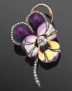19th Century Violet Enamel and Diamond Stemmed Pansy Flower Brooch Handpainted purple and yellow enamel petals are bordered with old mine diamonds in a yellow gold mounting. Period of Creation: 18th & 19th Century Fred Leighton
