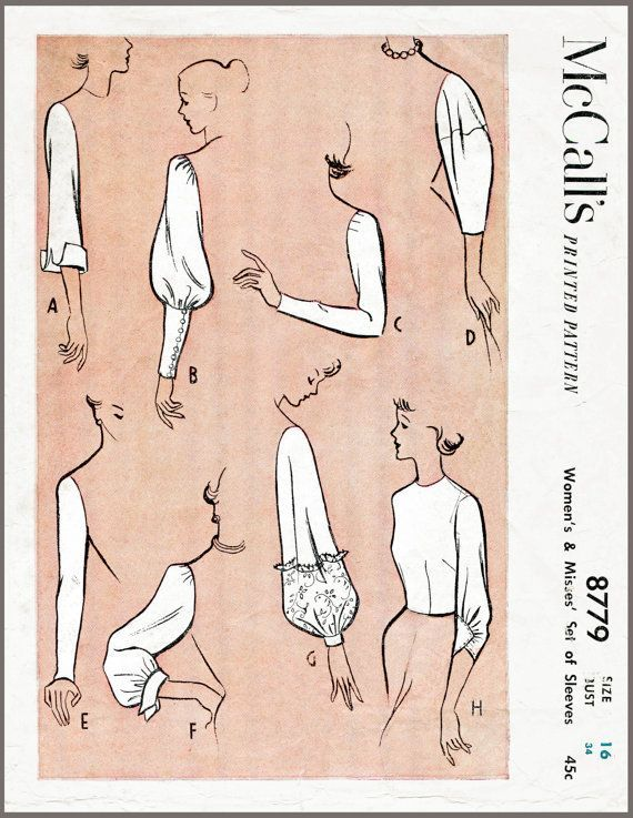 Vintage Sewing Pattern 1950s 50s sleeve set by LadyMarloweStudios