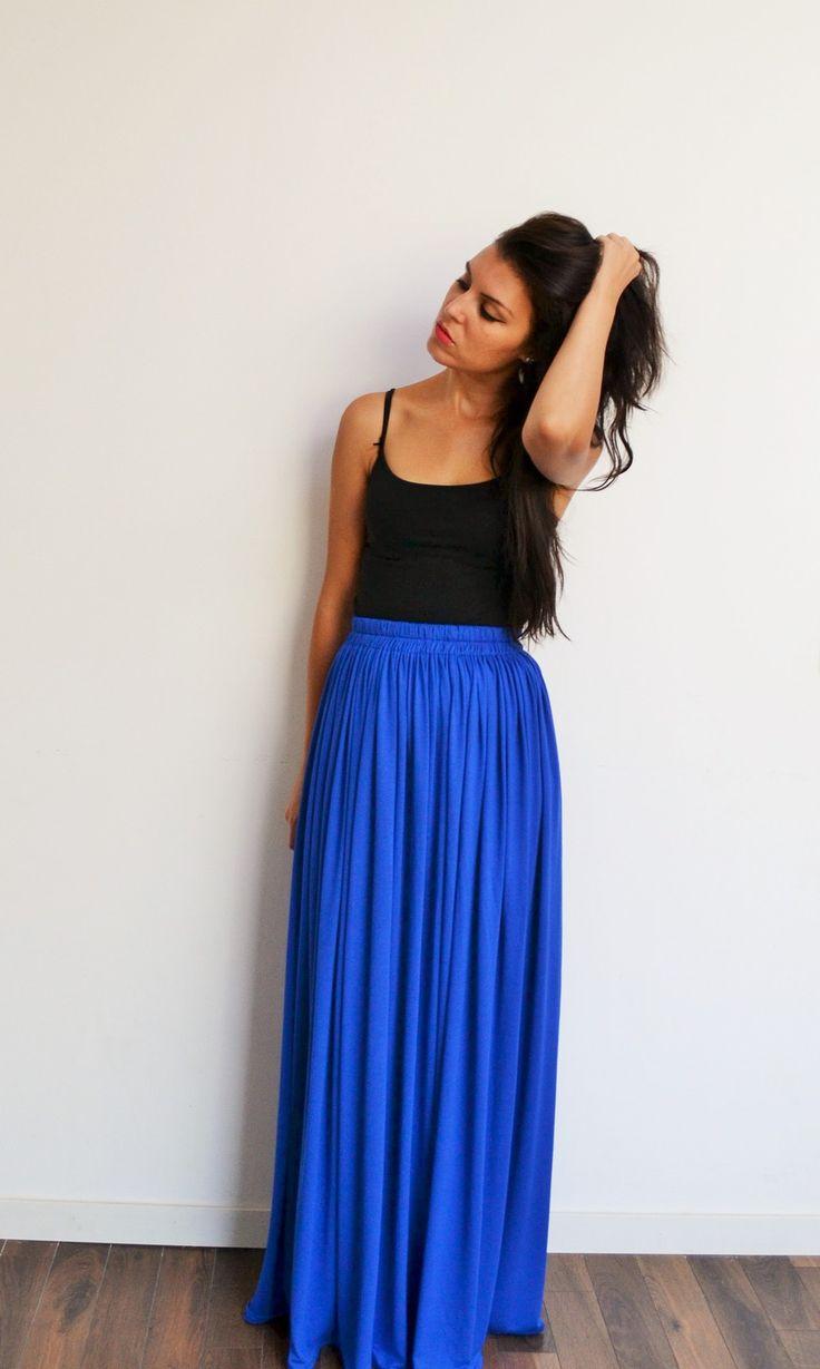 Jupe longue bleu royal tendance bohème chic : Jupe par menina-for-mathis