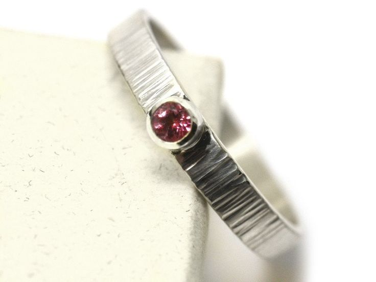 Women's Tiny 3mm Baby Pink Topaz Engagement Ring in Silver