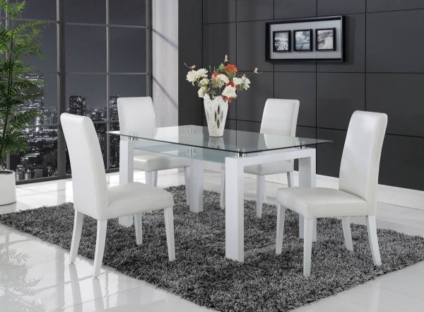 D648 Series Contemporary White Black Dining Room Set