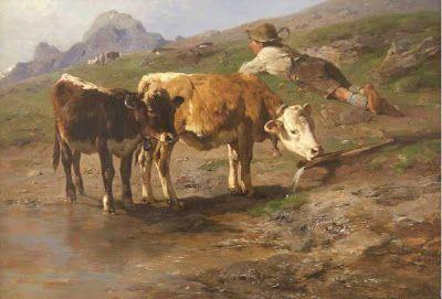 ANTON BRAITH - Fazendeiro com bezerros pastando na montanha Óleo